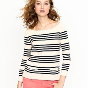 J. Crew Cream Navy Striped Boatneck Knit Top M